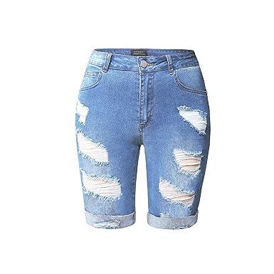 4d17c06f6 HOCAIES Womens High Waist Denim Shorts Knee Length Destroyed Stretch  Bermuda Jean Shorts (Light Wash