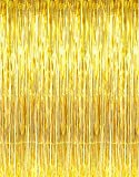 GOER 3.2 ft x 9.8 ft Metallic Tinsel Foil Fringe Curtains for Party Photo Backdrop Wedding Decor (Gold1 pack)
