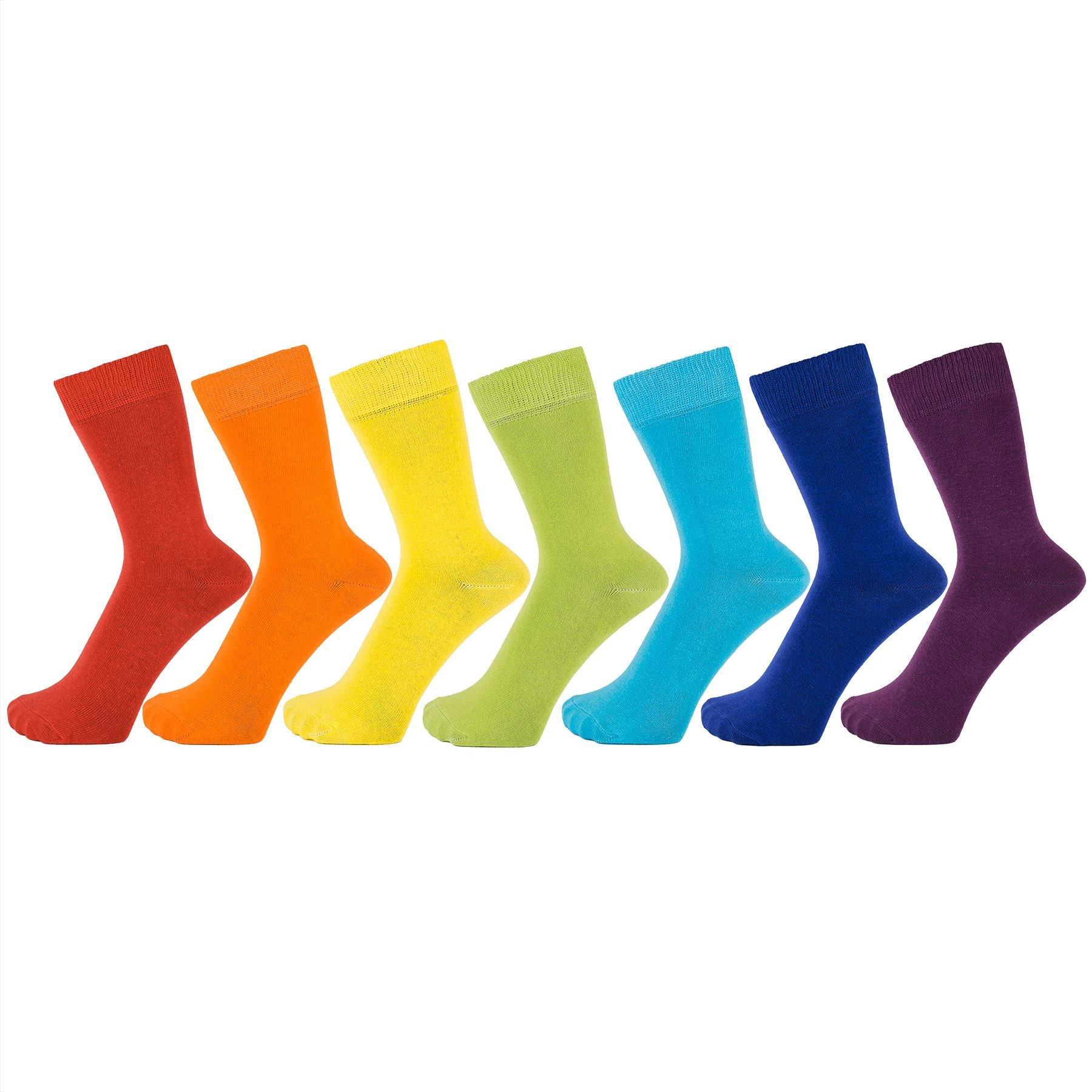 ZAKIRA Finest Combed Cotton Dress Socks in Plain Vivid Colours for Men, Women, 7-12 (US), Rainbow 7-pack