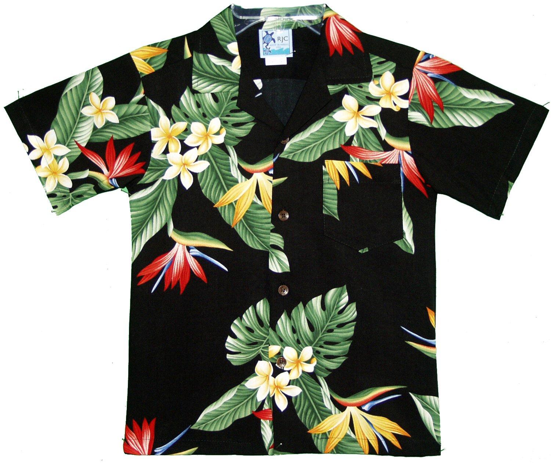 RJC Boys Bird of Paradise Display Rayon Shirt Black 14