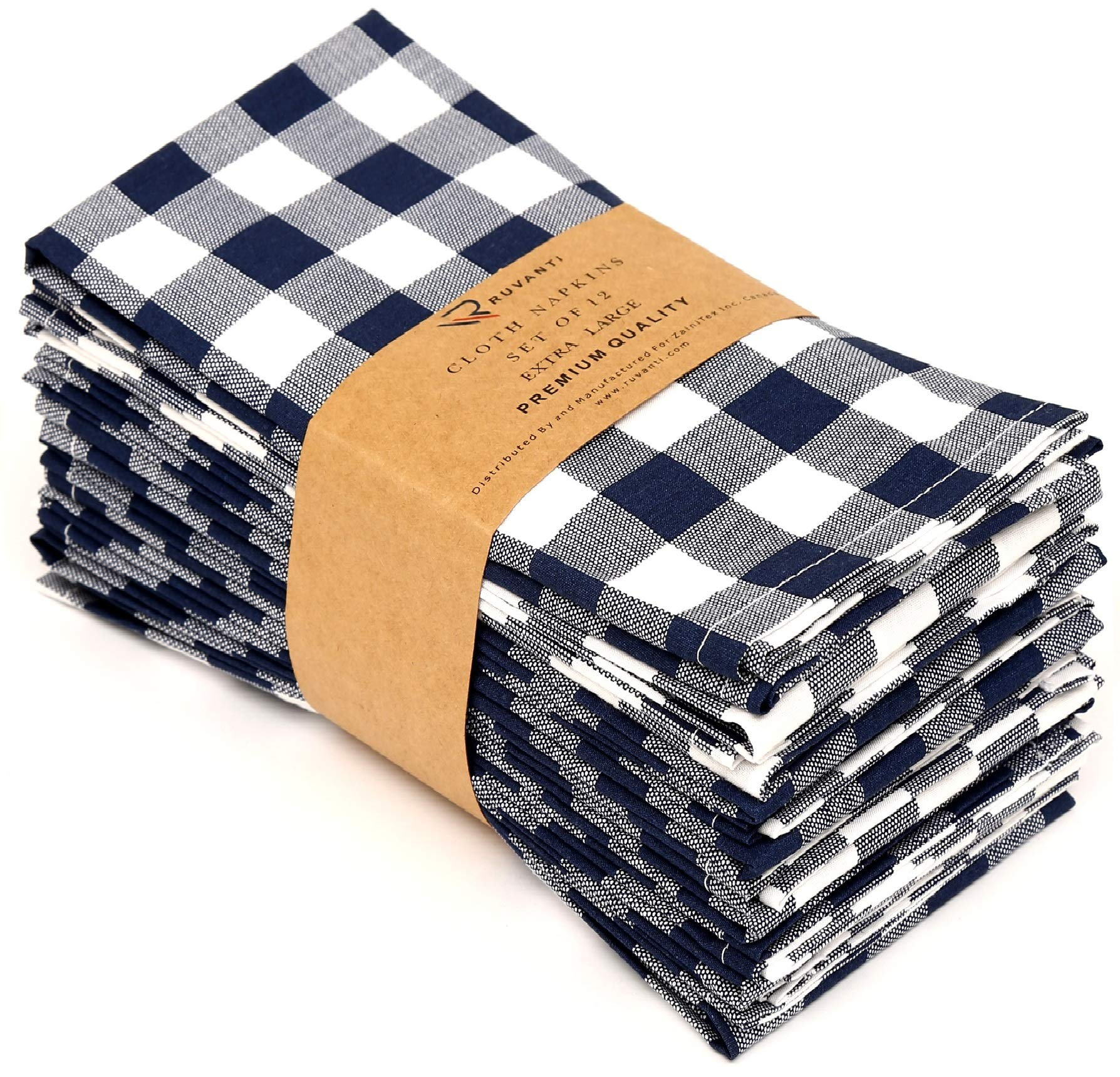 Ruvanti Cloth Napkins 12 Pack(100% Cotton 20'' X 20'') Navy Blue & Grey Buffalo Check Napkins,Soft & Comfortable Cotton Plaid Napkins.Cloth Dinner Napkins/Fabric Napkins for Dinners & Cocktail Parties. by Ruvanti