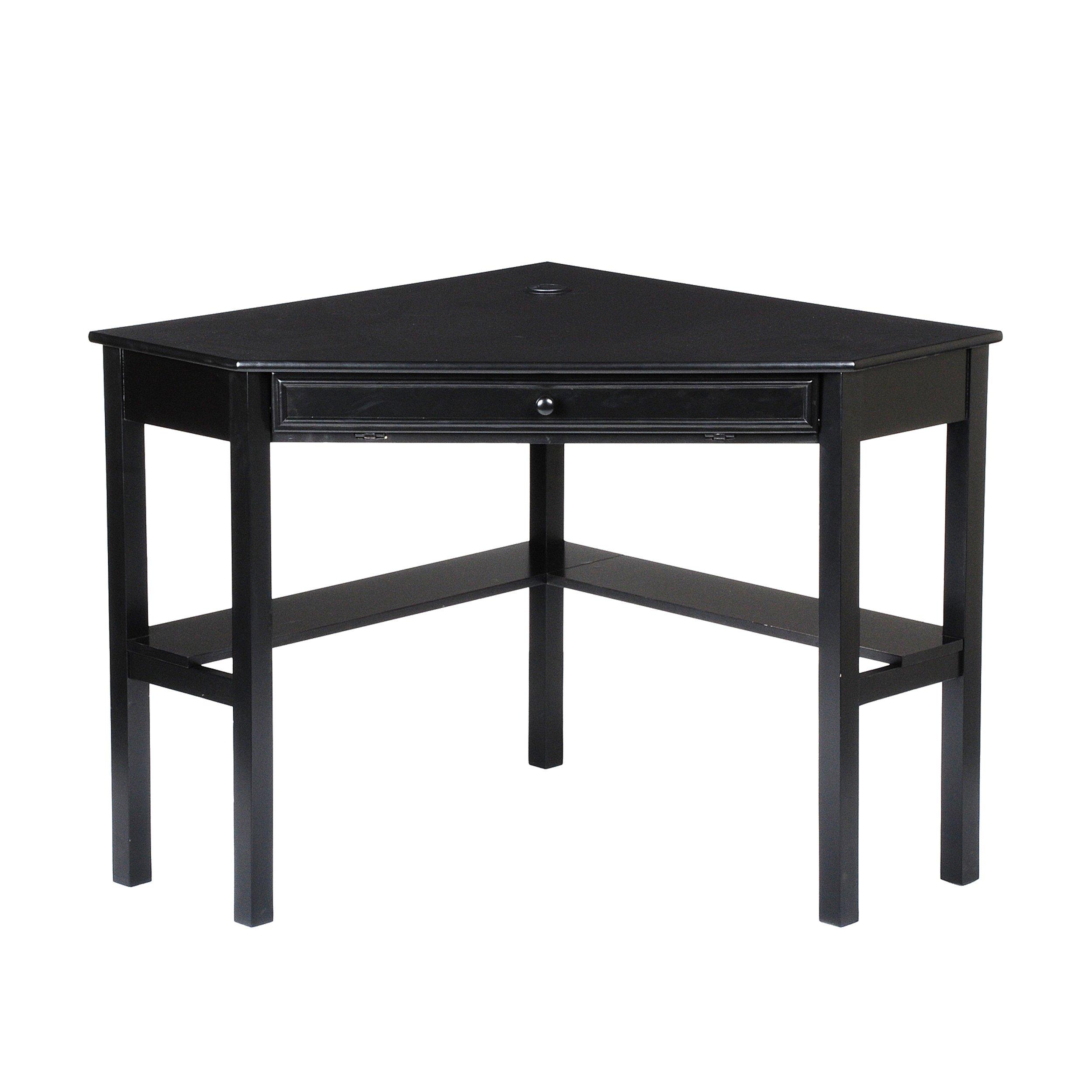 Southern Enterprises Corner Computer Desk 48'' Wide, Painted Black Finish by SEI