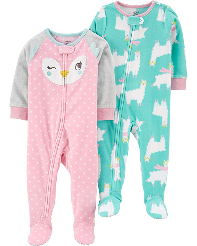 Pink Face//Llama 5T Carters Girls Toddler 2-Pack Loose Fit Fleece Footed Pajamas