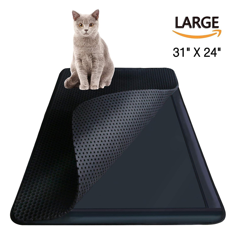 "Highland Farms Select Cat Litter Mat - Cat Litter Box Trapper Cat Litter Mat Catcher - EZ Clean Large Holes - Waterproof Double Layer, Large Size 31"" X 24"""
