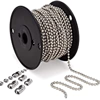 Beaded Pull Chain Extension with Connector 10 Feet Beaded Roller Chain with 10 Matching Connectors Silver