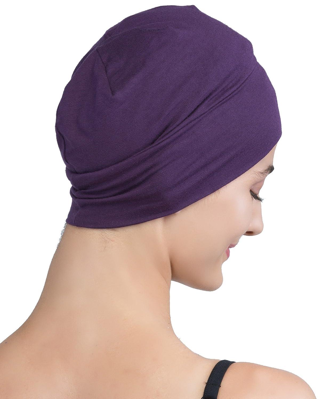 Deresina Headwear Wrap-Fit Sleep Cap for Chemo, Hair Loss Hair Loss (Black)
