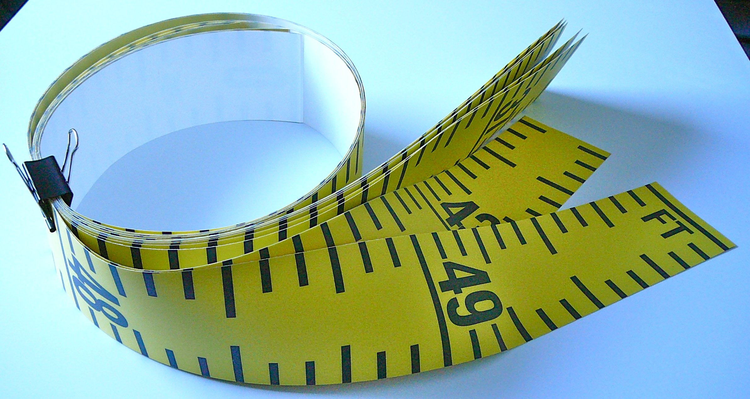 """Floor Tape – Adhesive Backed – 4 Inch Wide X 50 Foot Long – Vertical Up – Fractional – 1"""" Grads – Yellow – 8 Pieces"""