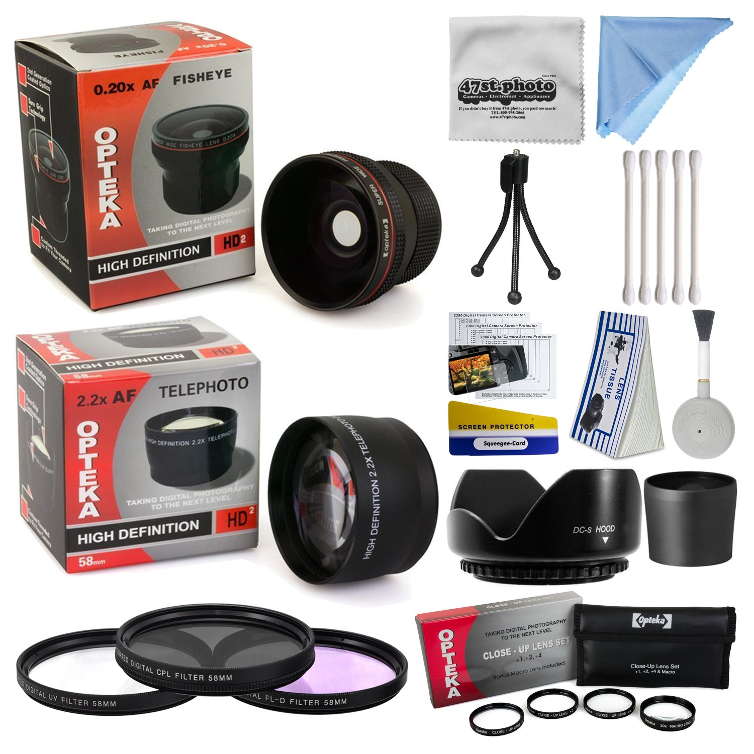 Canon Powershot A570 A590 Ultimate 15 Piece Lens Kit Package Includes 0.20X Super Wide Angle Fisheye lens, 5 PC Close-Up Set (+1, +2,+4 with 10X Macro Lens) , 2.2x HD AF Telephoto Lens + 3 Piece Pro Filter Kit (UV, CPL, FLD) + Tube Adapter + Deluxe Lens C