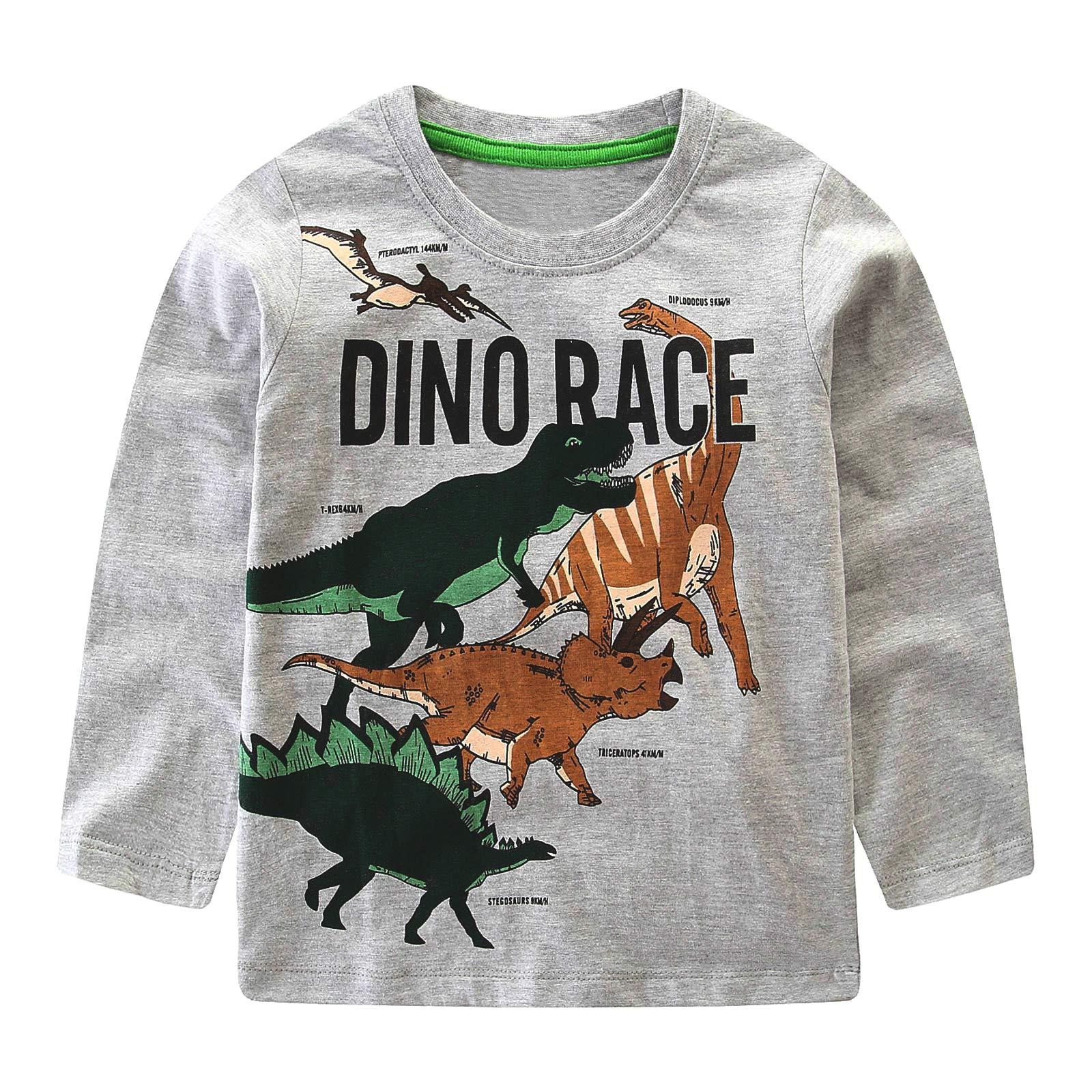 HowJoJo Kids Boys Dinosaur T Shirts Cotton Long Sleeve Shirt Graphic Tees Gray 6T