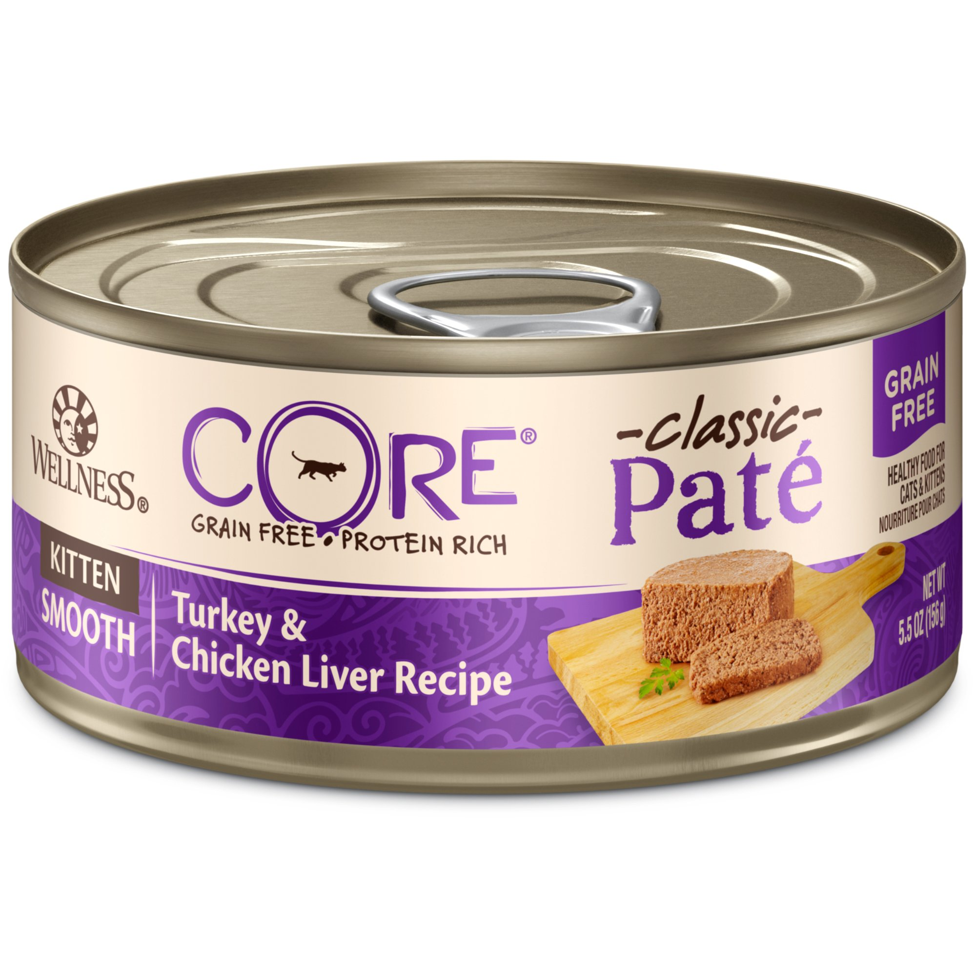 Wellness Core Natural Grain Free Wet Canned Cat Food, Kitten Turkey & Chicken Liver, 5.5-Ounce Can, Pack Of 24 by WELLNESS CORE