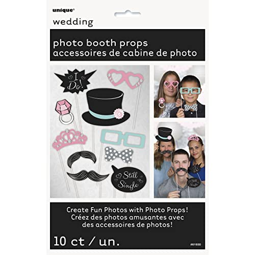 Unique Party 61930 - Wedding Photo Booth Props, Pack of 10