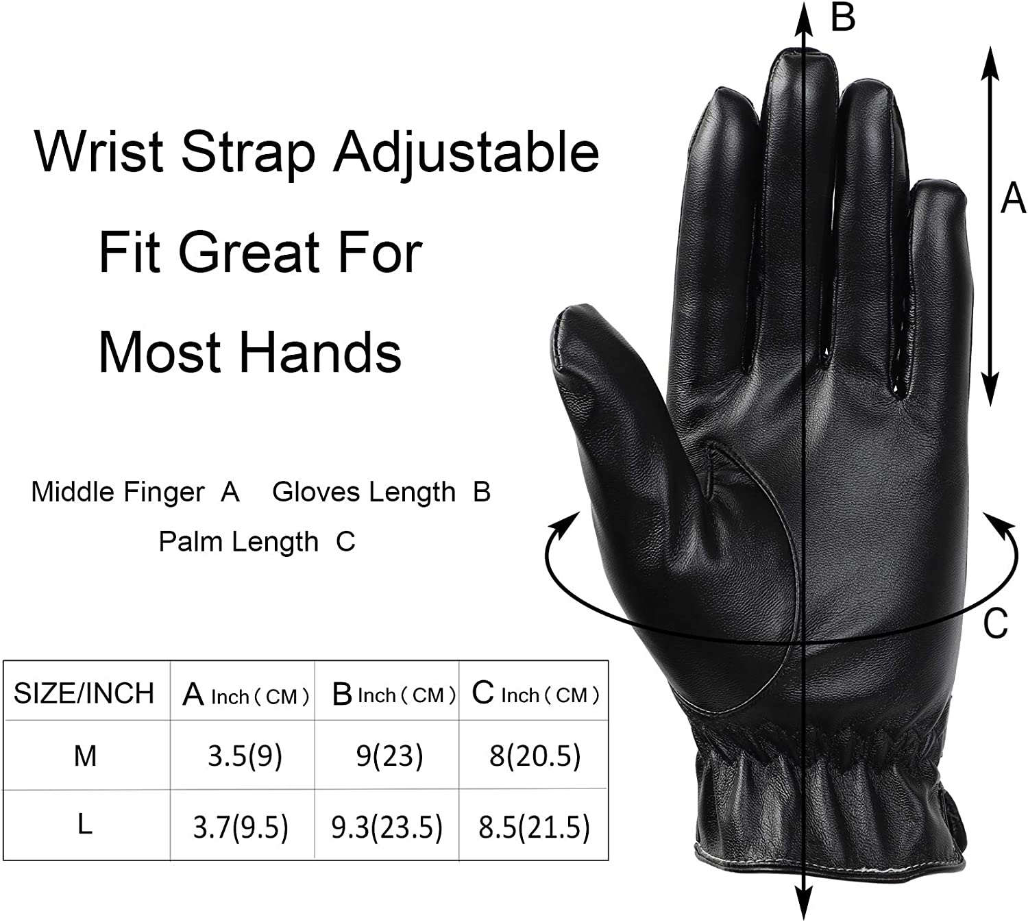 Soul Young Womens Black PU leather Driving Gloves for Winter With Gift Box M,Black
