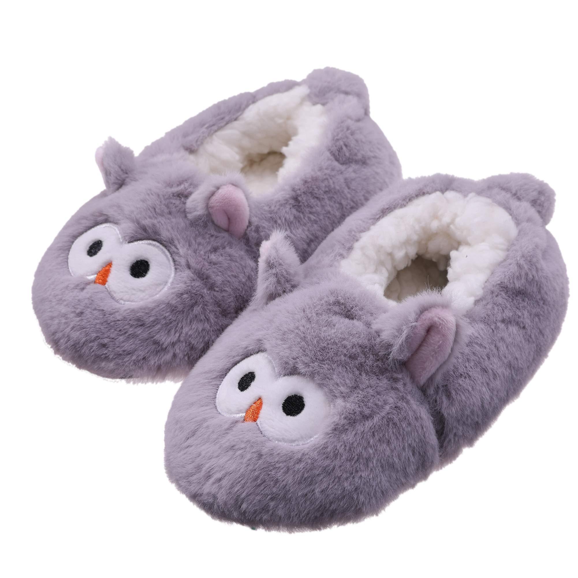 FANZERO 5 Pack Baby Toddlers Girls Boys Anti Grip Fuzzy Slipper Socks Cute Animal Super Soft Warm Winter Floor Socks