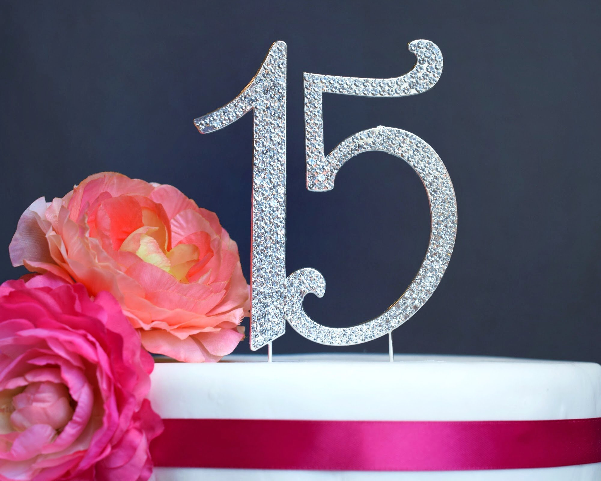 15 Quinceañera Cake Topper | Premium Sparkly Crystal Rhinestones | 15th Birthday or Anniversary Party Decoration Ideas | Quality Metal Alloy | Perfect Keepsake (15 Silver)