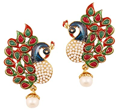 8a085cc11032 Touchstone  quot Peacock Collection Indian Bollywood Ethnic Peacock  meenakari Enamel red Faux Ruby Green Faux