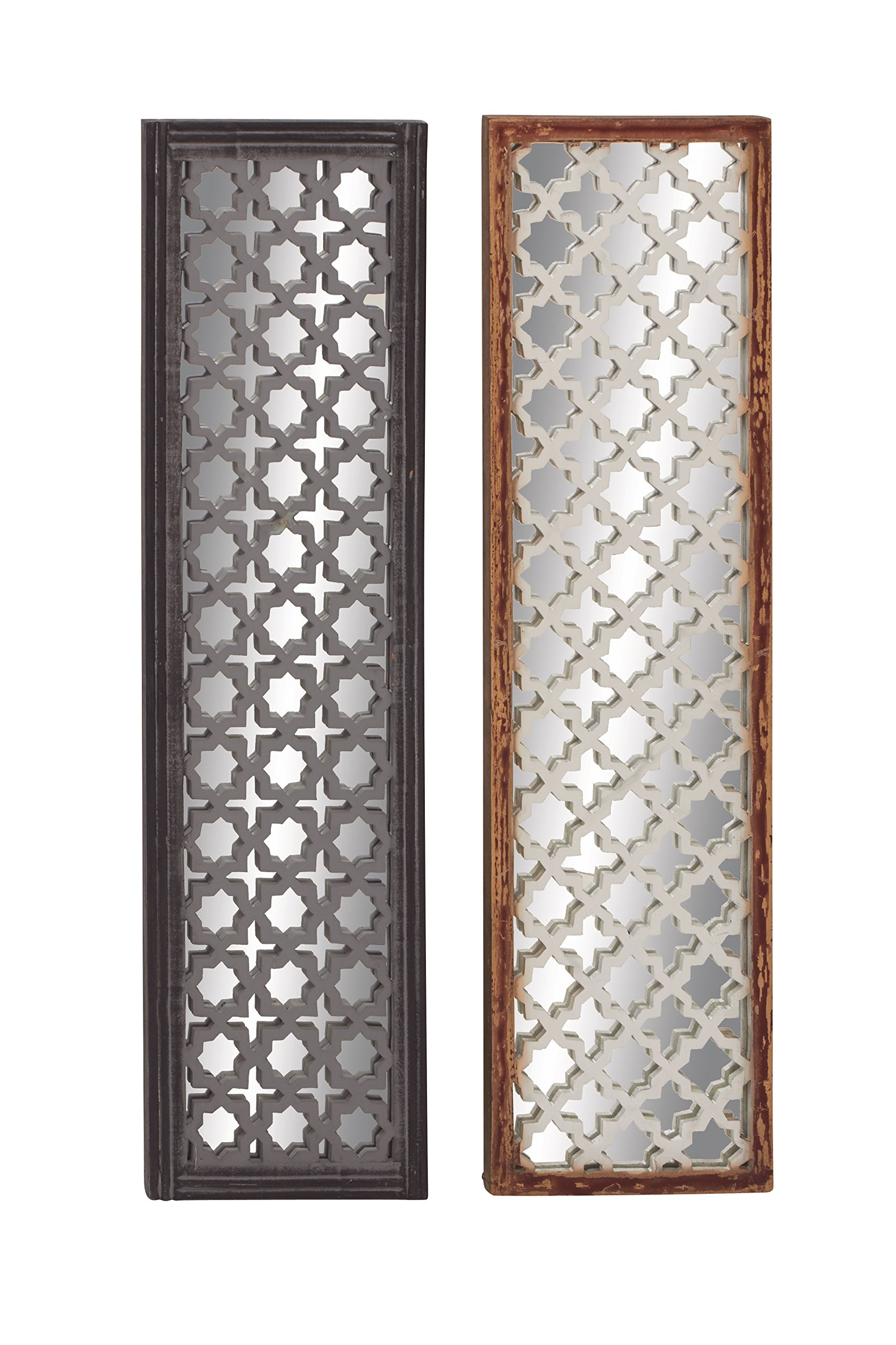 Deco 79 23713 Wood Mirror Wall Panel, 2 Assorted, 12 by 44''