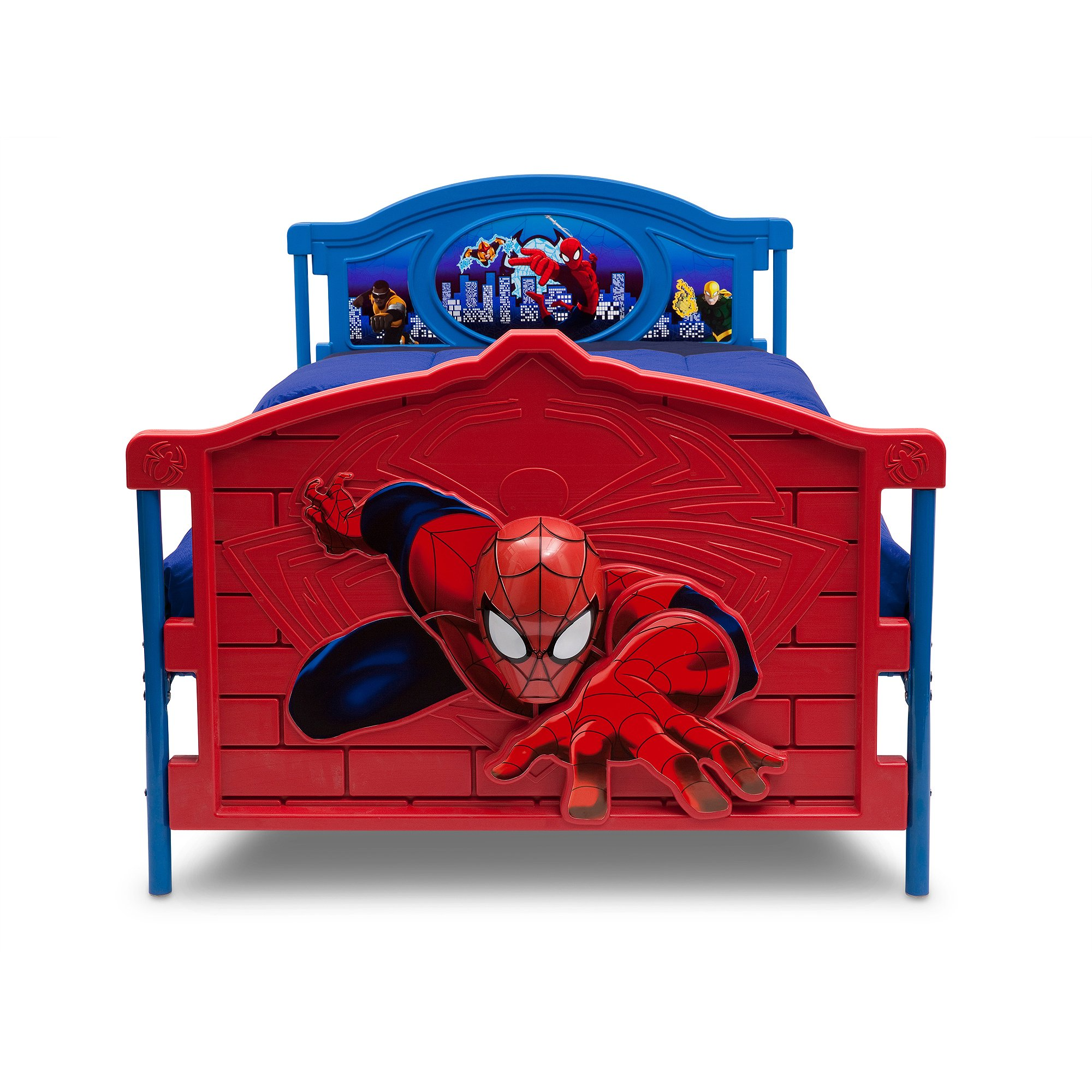 Spider-Man 3D Twin Bed, Your Kid's Dream Place, Includes removable Guardrails, Very Sturdy, Easy to Assemble, Perfect Present for your Kid, reversible Footboard, Bedroom Furniture