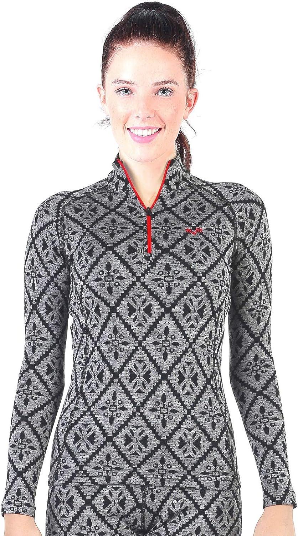 Womens Base Layer -%100 Merino Wool Half Zip Thermal Sweater