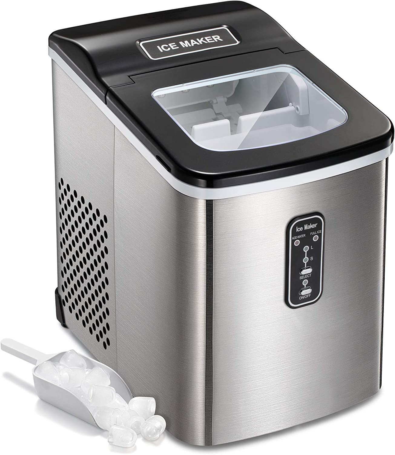 AGLUCKY Countertop Ice Maker Machine Stainless Steel Covers, Portable Automatic Ice Maker,26lbs/24hr,9pcs S/L Size Ice Cube Ready in 6-13 Mins,1.5lbs Ice Storage with Ice Scoop,Indicator Function