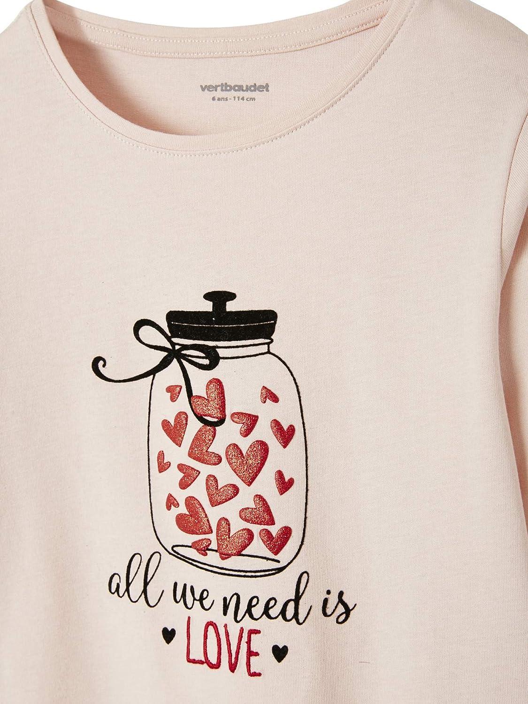 Vertbaudet T-Shirt Fille Motifs Coeurs iris/és