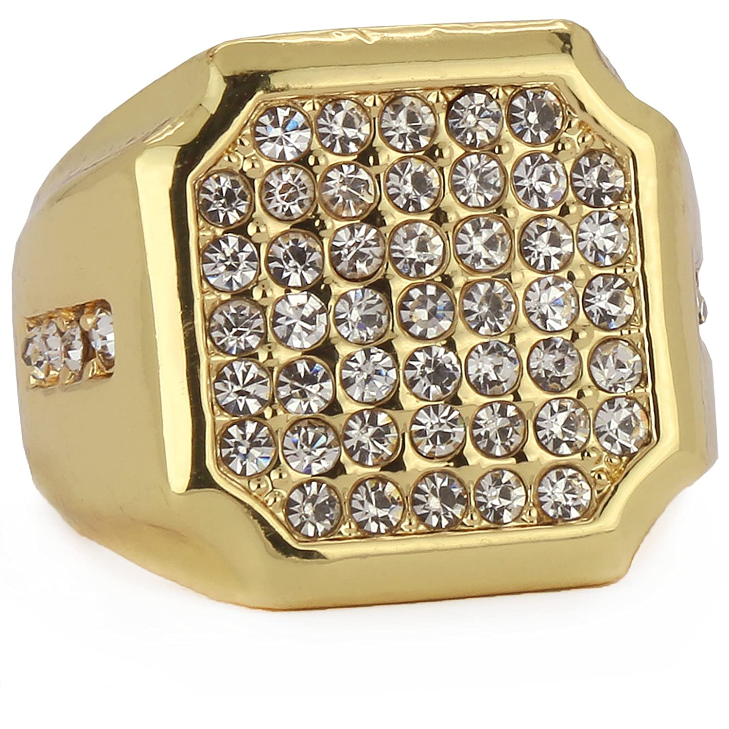 "Men's 14K ""GOLD PLATED"" Round Cz Iced Out Shield 1Line Side Ring Sizes 7,8,9,10,11,12 Free Box"
