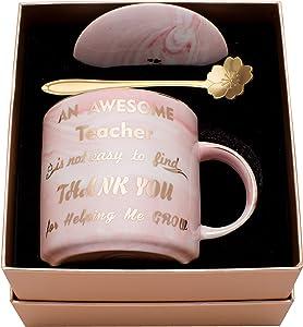 Luspan Teachers Mug - Best Teacher Gifts for Women - BEST GIFTS FOR TEACHERS - Teacher Appreciation Gifts - Pink Marble Ceramic Coffee Mugs 11.5oz and Lid