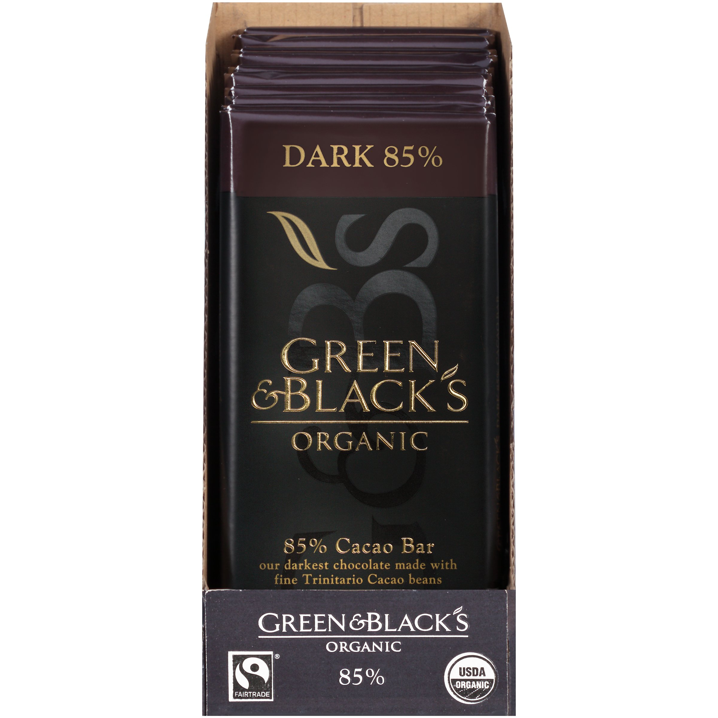 Green & Black's Organic Dark Chocolate, 85% Cacao, 3.5 Ounce (Pack of 10) by Green & Black's