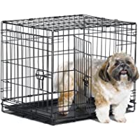 "New World 24"" Double Door Folding Metal Dog Crate, Includes Leak-Proof Plastic Tray; Dog Crate Measures 24L x 18W x 19H Inches, for Small Dog Breed"