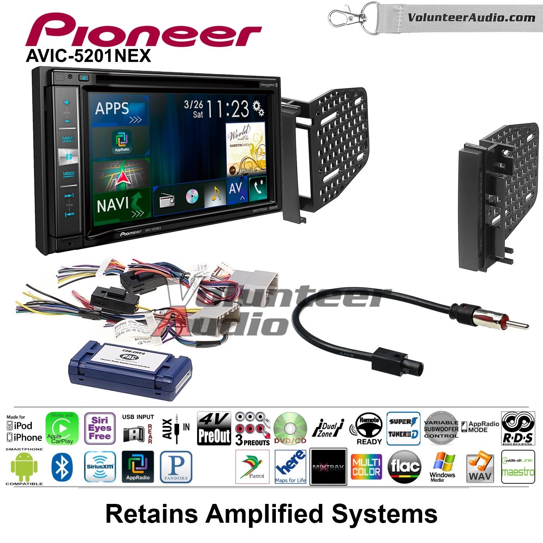Pioneer AVIC-5201NEX Double Din Radio Install Kit with Navigation Apple Carplay Bluetooth Fits 2009-2010 Ram 2011-2014 Chrysler 200