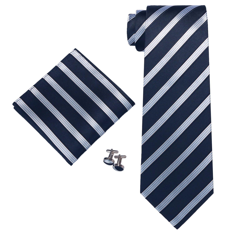 Landisun AF69H Black Blue Striped Mens Silk Neck Tie Set