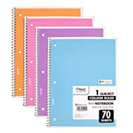 Mead Spiral Notebook 4 Pack of 1-Subject College Ruled, Pastel Color COLOR WILL VARY,  Spiral Bound Notebooks, Cute school Notebooks 70 Pages