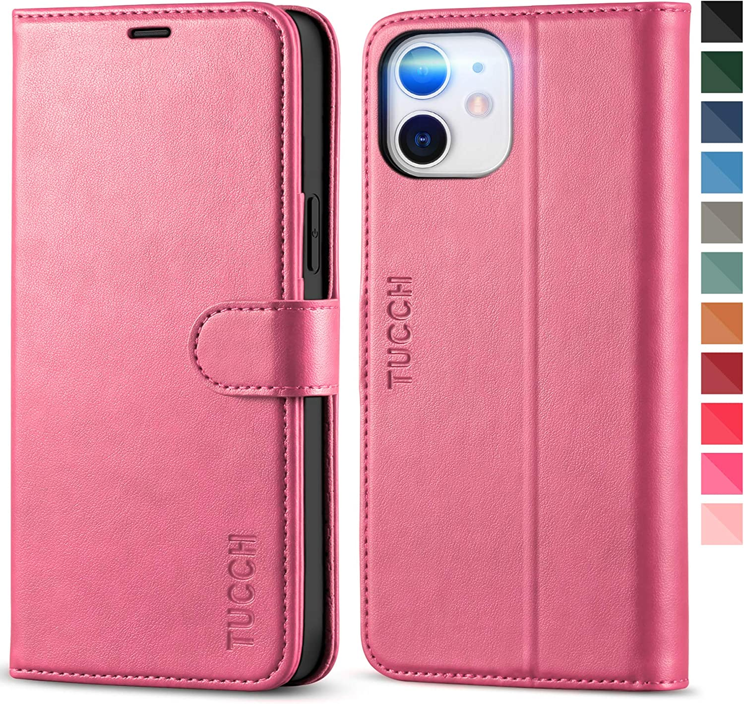 TUCCH Case for iPhone 12/iPhone 12 Pro 5G, RFID Blocking PU Leather Stand Folio Wallet Cover with TPU Protective Interior Shell, Magnetic Card Slot Flip Case Compatible with iPhone 12/12 Pro, Hot Pink