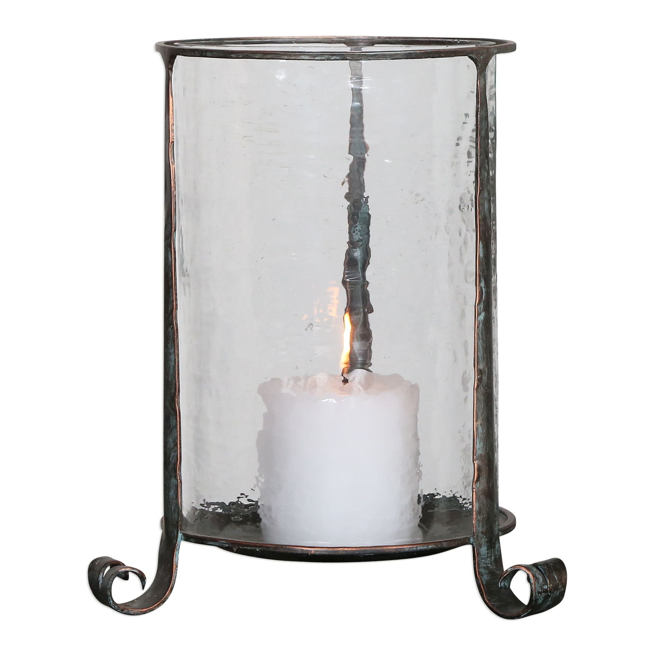 Rustic Bronze Hammered Glass Hurricane Candle Holder | Antique Pillar