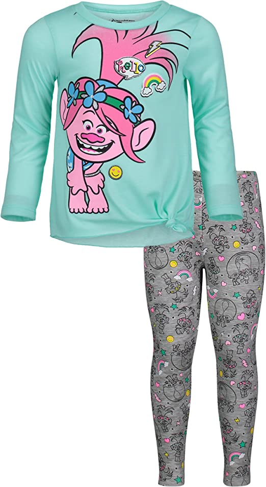 Trolls Girls Rainbow Fashion Top and Legging Set Legging Set