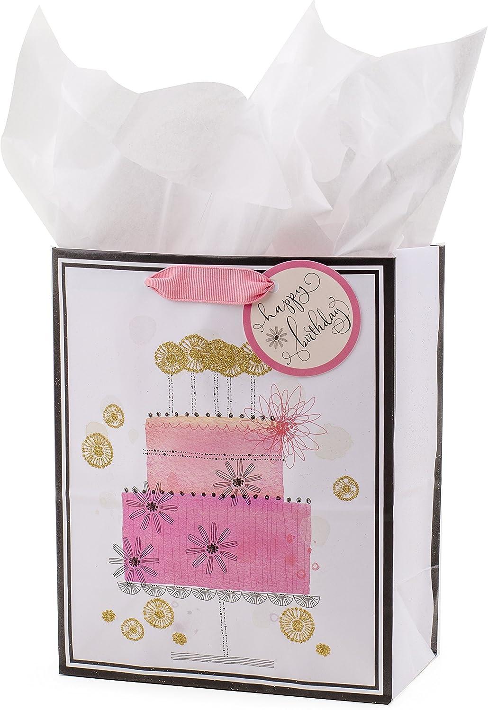 "Hallmark 9"" Medium Birthday Gift Bag with Tissue Paper (Pink Tiered Birthday Cake)"