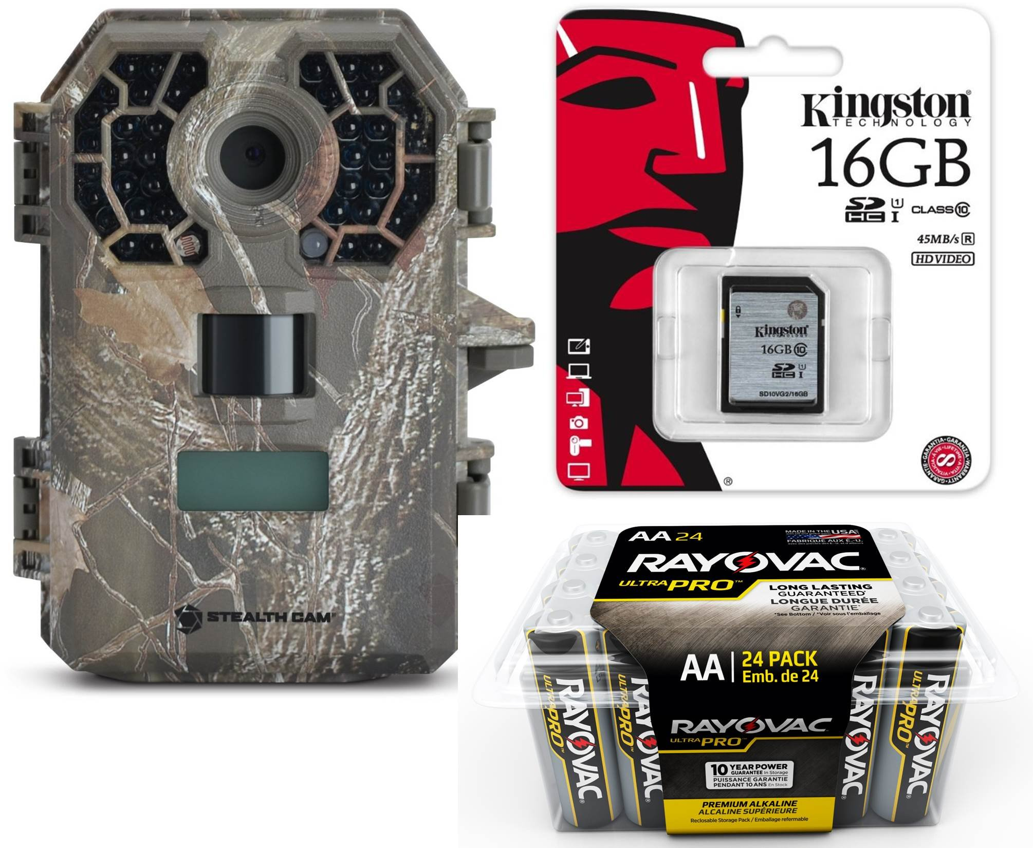 Trail Camera Bundle 3 Items | Stealth Cam G42NG + Rayovac AA Battery 24 PK + Kingston 16 GB SD Card | 10 MP Pictures | HD Video W/ Audio| NO Glow Night Vision Motion Activated Infrared 100 FT Range