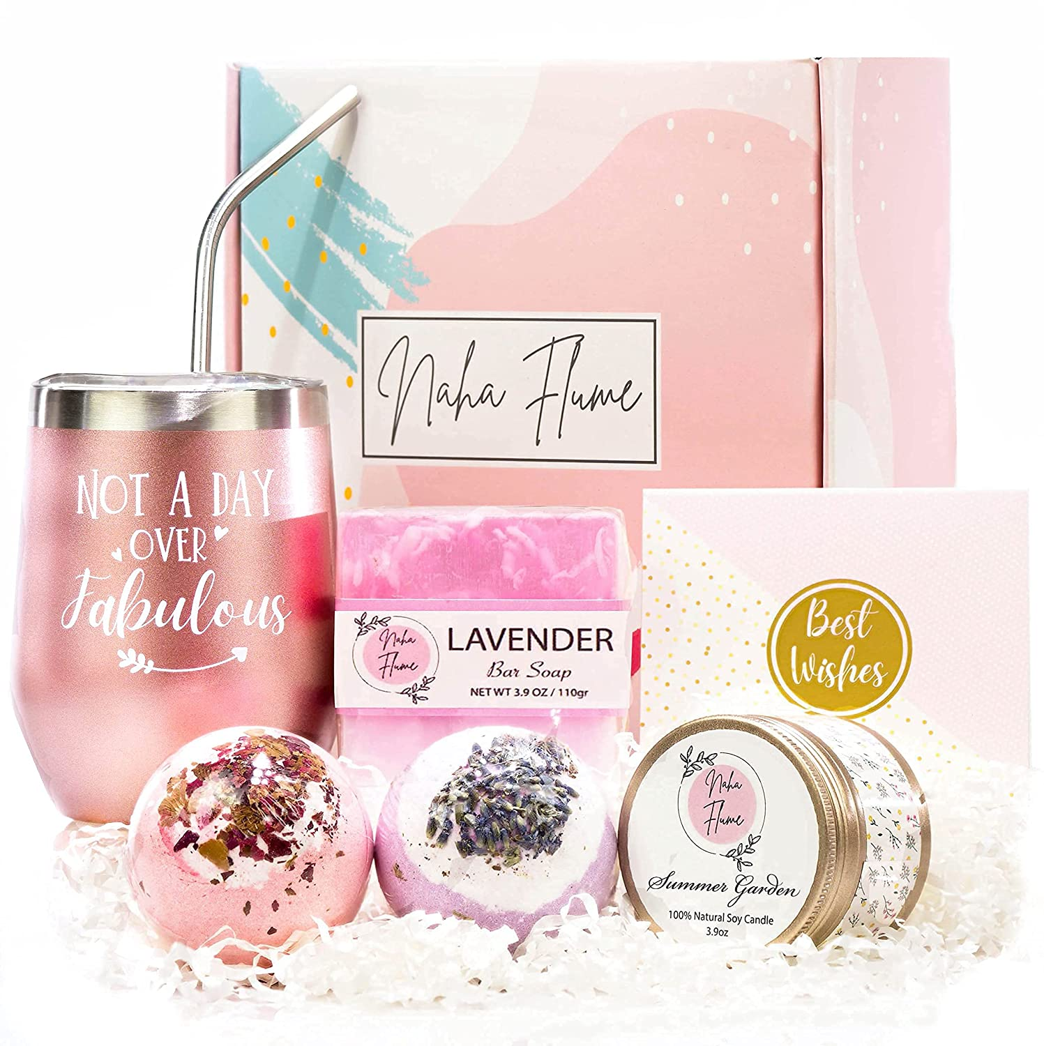 Birthday Gifts for Women - Relaxing Spa Gift Box Basket for Mom Female Best Friend Sister Girlfriend Wife Mothers Day Unique Wine Tumbler Happy Birthday Bath Set Gift Idea for Women Who Has Everything