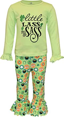 Unique Baby Girls St. Patrick's Day Little Lass Bell Bottom Pants Outfit