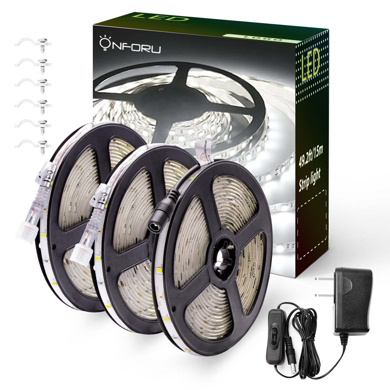 Onforu 50ft/15m Waterproof LED Strip Lights Kit, 6000K Cool White, 12V Flexible LED Rope 450 SMD 2835 LEDs, UL Listed Power Supply Switch, IP65 Waterproof Indoors Outdoors