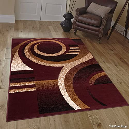 Allstar 4×5 Burgundy Modern and Contemporary Rectangular Accent Rug with Ivory and Mocha Swirl Abstract Design 3 9 x 5 1