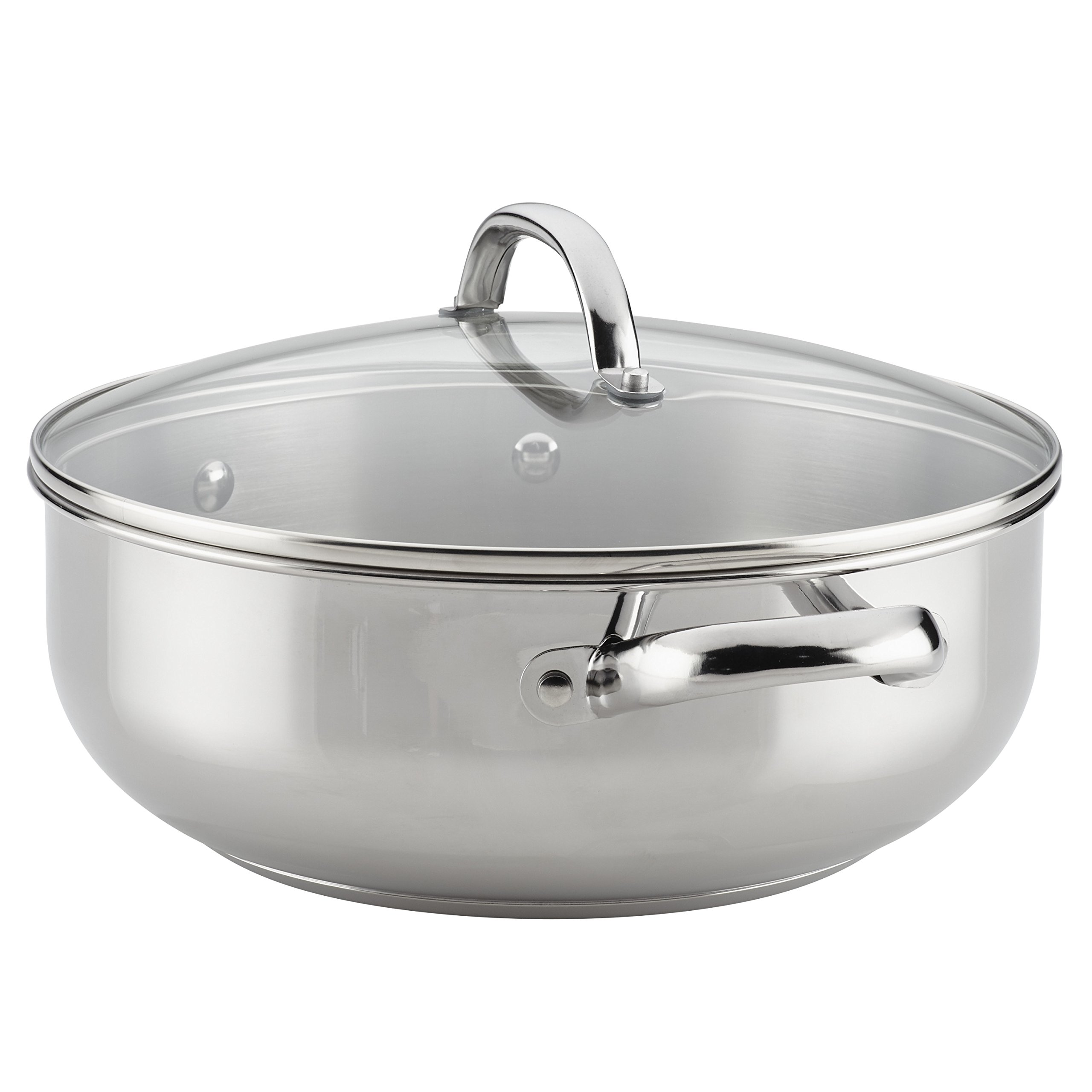 Farberware Buena Cocina Stainless Steel Covered Casserole, 6-Quart, Silver by Farberware