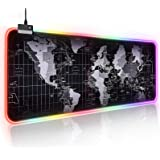Large RGB Gaming Mouse Pad, Led Extended and Thickened Foldable Luminous Mouse Pad with High Definition Map, Keyboard Pad wit