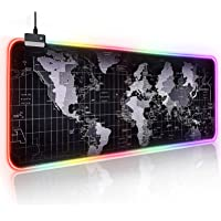 Large RGB Gaming Mouse Pad, Led Extended and Thickened Foldable Luminous Mouse Pad with High Definition Map, Keyboard…