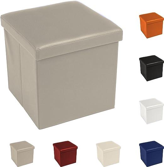 Tata Home Puf Puff Contenedor Caja Cubo reposapiés Taburete de Piel sintética tamaño 38 x 38 x 38 cm Color Beige: Amazon.es: Hogar
