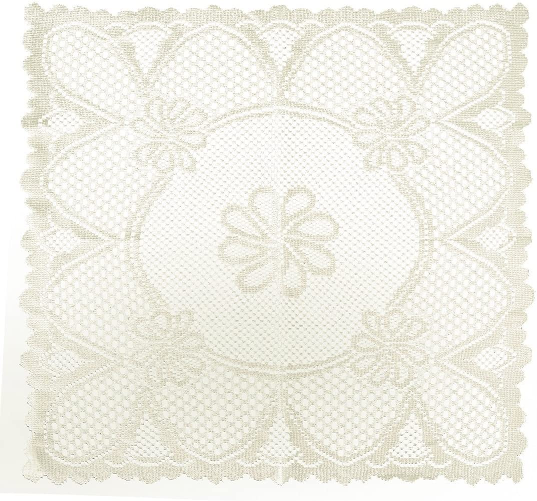 Home-X Vintage Style Square Lace Doilies. Cream or White (Cream)