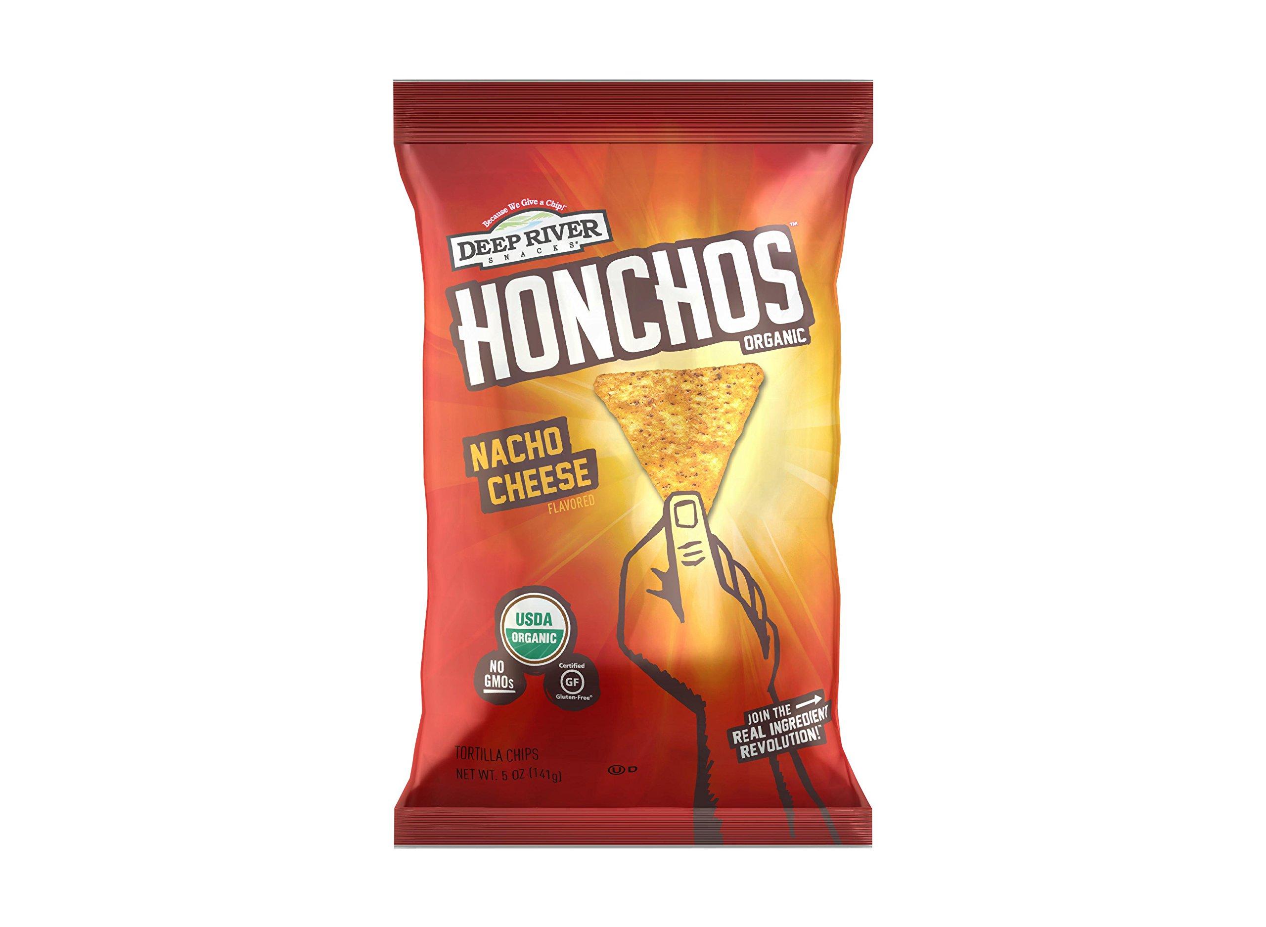 HONCHOS Organic Gluten Free Tortilla Chips, Nacho Cheese, 5 Ounce (Pack of 12), Non GMO by HONCHOS