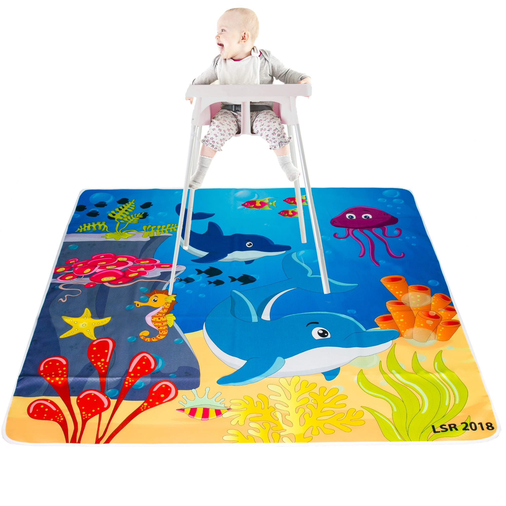 LimaWay 51'' Splat Mat for Baby/Anti Slip, Washable, Waterproof, Floor and Carpet Protector and Under The High Chair Cover/Kids Play Mat and Table Cloth for Art and Craft/LimaWay