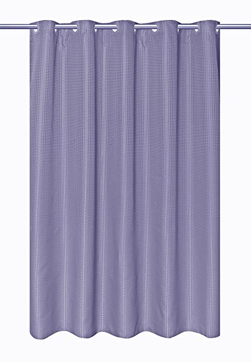 Delightful Hookless EZ ON Waffle Weave Fabric Shower Curtain With Snap In Fabric Liner,