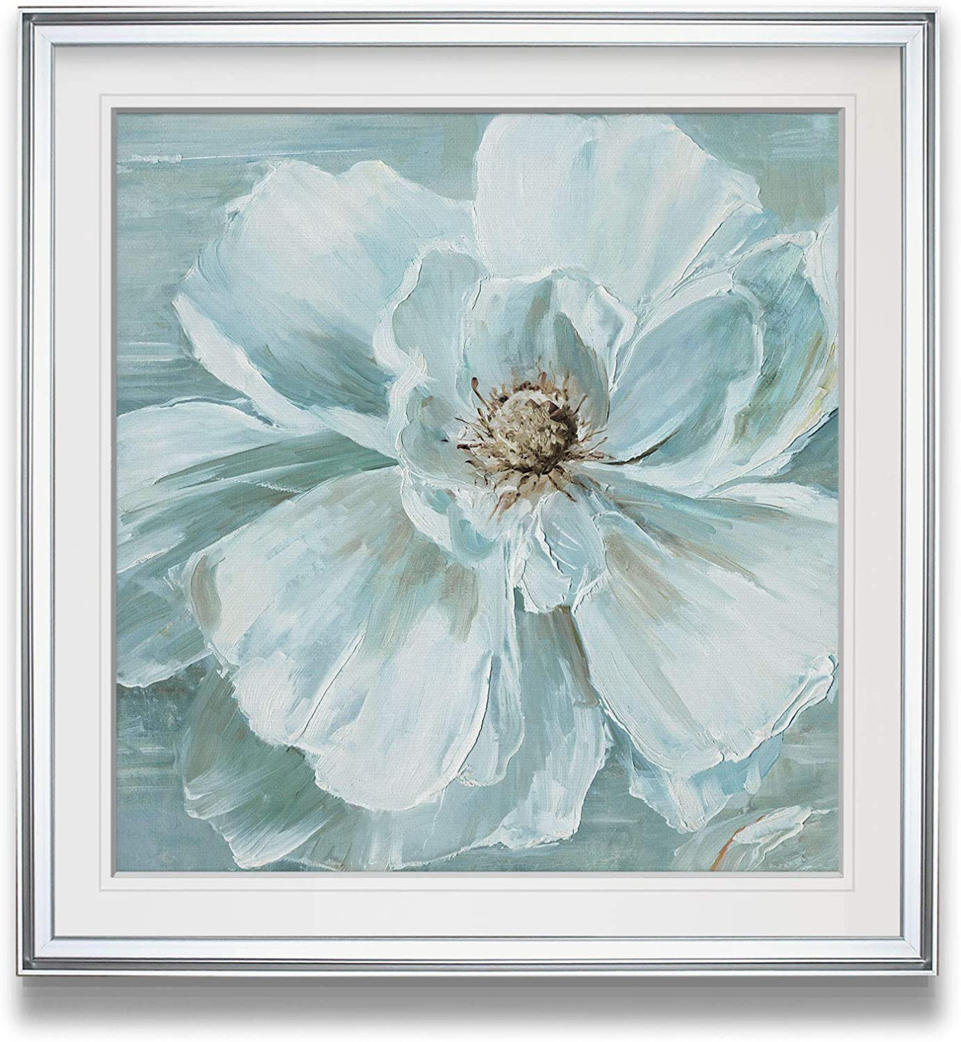 Amazon Com Renditions Gallery Blue Bloomin Beauty I Pastel Anemone Flower Pictures Home Decor Contemporary Wall Art Framed Giclee Prints 24 X Silver Posters