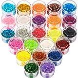 24 Colors Glitter Set, FANDAMEI 24 Boxes 5g Fine Glitter, Nail Art Glitter for Halloween Makeup, Cosmetic, Festival, Makeup.